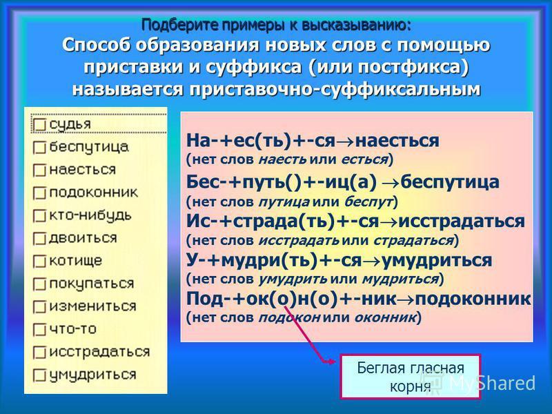 Подберите примеры к высказыванию: Способ образования новых слов с помощью приставки и суффикса (или постфикса) называется приставочно-суффиксальным На-+ес(ть)+-ся наесться (нет слов наесть или есться) Бес-+путь()+-иц(а) бес путица (нет слов путица ил