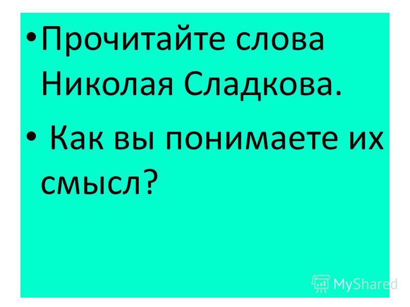 Прочитайте слова Николая Сладкова. Как вы понимаете их смысл?