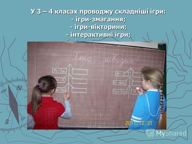 У 3 – 4 класах проводжу складніші ігри: - ігри-змагання; - ігри-вікторини; - інтерактивні ігри; У 3 – 4 класах проводжу складніші ігри: - ігри-змагання; - ігри-вікторини; - інтерактивні ігри;