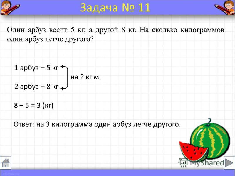 Один арбуз весит 5 кг, а другой 8 кг. На сколько килограммов один арбуз легче другого? 1 арбуз – 5 кг на ? кг м. 2 арбуз – 8 кг 8 – 5 = 3 (кг) Ответ: на 3 килограмма один арбуз легче другого. Задача 11