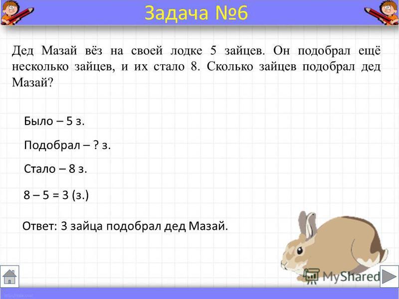 Дед Мазай вёз на своей лодке 5 зайцев. Он подобрал ещё несколько зайцев, и их стало 8. Сколько зайцев подобрал дед Мазай? Было – 5 з. Подобрал – ? з. Стало – 8 з. 8 – 5 = 3 (з.) Ответ: 3 зайца подобрал дед Мазай. Задача 6