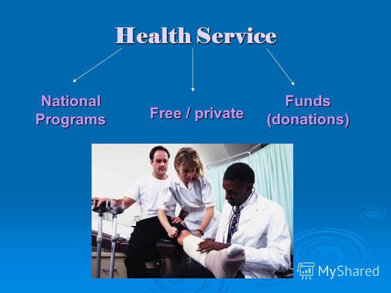 Health Service Free / private Funds(donations) National Programs