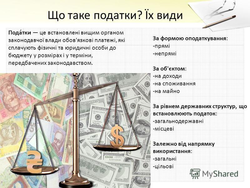 Пода́тки це встановлені вищим органом законодавчої влади обов'язкові платежі, які сплачують фізичні та юридичні особи до бюджету у розмірах і у терміни, передбачених законодавством. За формою оподаткування: -прямі -непрямі За об'єктом: -на доходи -на