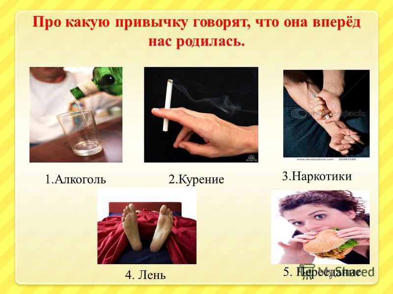 Про какую привычку говорят, что она вперёд нас родилась. 1.Алкоголь 2. Курение 3. Наркотики 4. Лень 5. Переедание