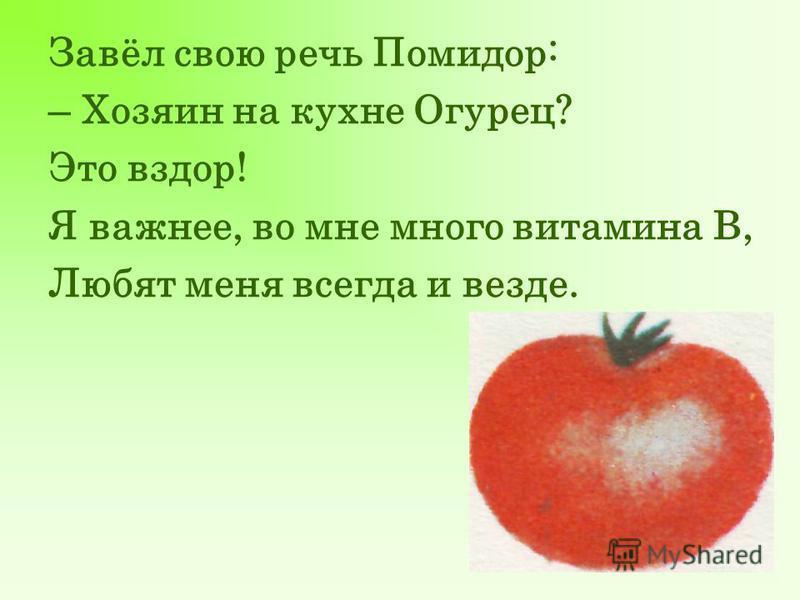 Завёл свою речь Помидор: – Хозяин на кухне Огурец? Это вздор! Я важнее, во мне много витамина В, Любят меня всегда и везде.
