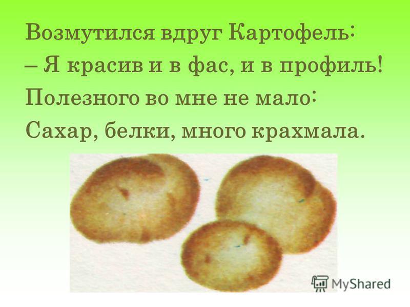 Возмутился вдруг Картофель: – Я красив и в фас, и в профиль! Полезного во мне не мало: Сахар, белки, много крахмала.