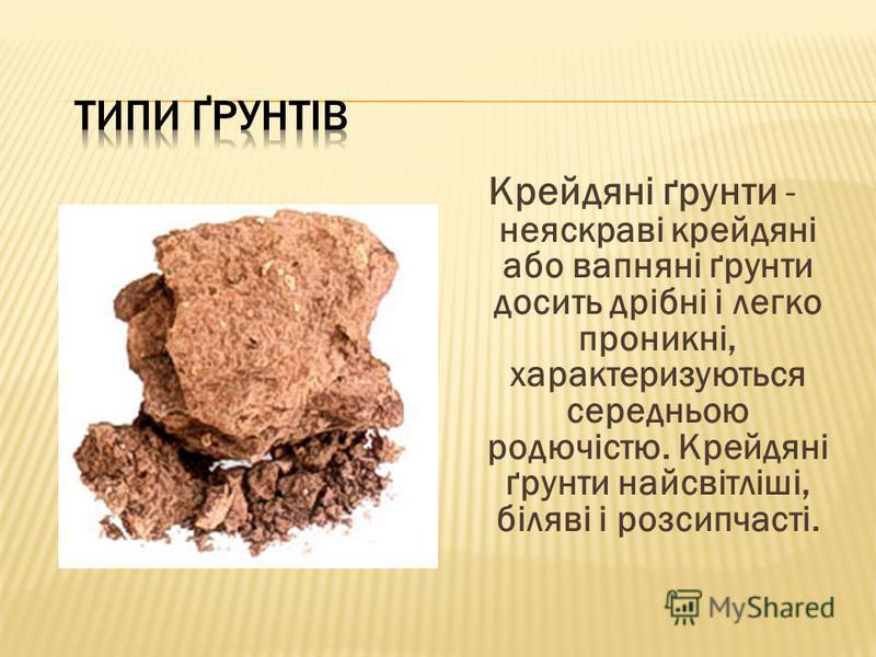Крейдяні ґрунти - неяскраві крейдяні або вапняні ґрунти досить дрібні і легко проникні, характеризуються середньою родючістю. Крейдяні ґрунти найсвітліші, біляві і розсипчасті.
