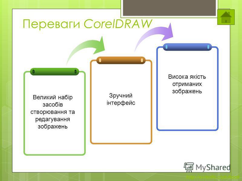 http://svitinfo.com/book Переваги CorelDRAW Великий набір засобів створювання та редагування зображень Зручний інтерфейс Висока якість отриманих зображень