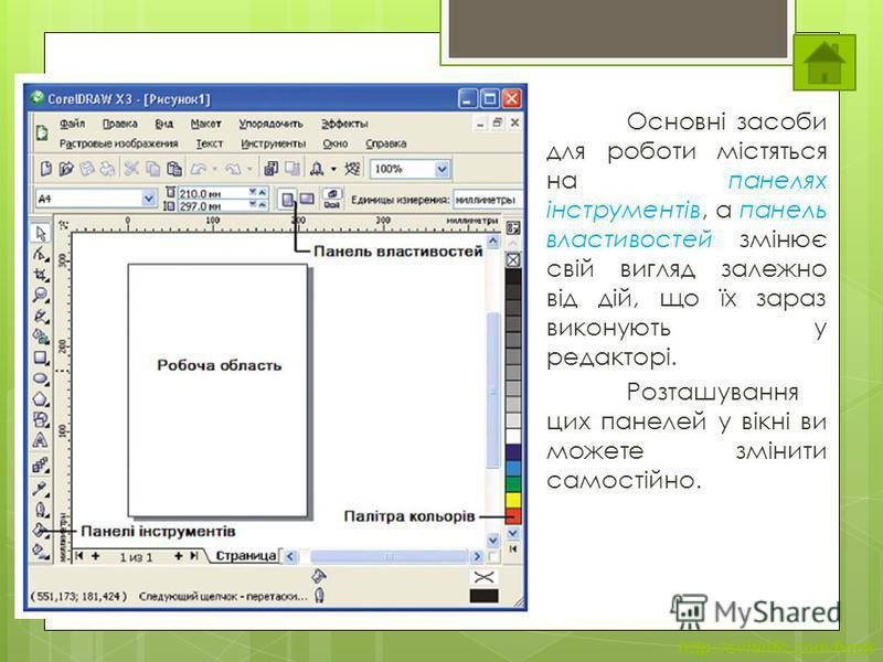 http://svitinfo.com/book Елементи вікна редактора Основні засоби для роботи містяться на панелях інструментів, а панель властивостей змінює свій вигляд залежно від дій, що їх зараз виконують у редакторі. Розташування цих панелей у вікні ви можете змі