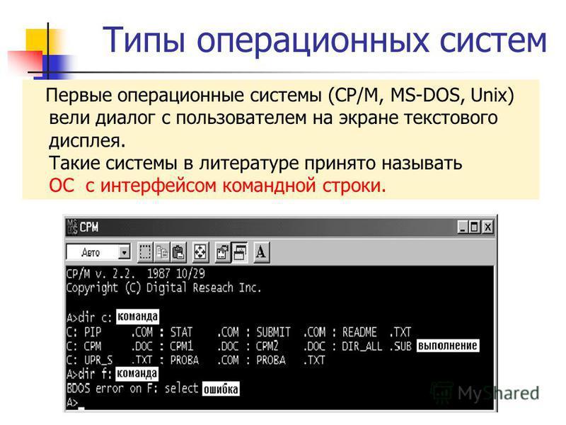 Типы операционных систем Первые операционные системы (CP/M, MS-DOS, Unix) вели диалог с пользователем на экране текстового дисплея. Такие системы в литературе принято называть ОС с интерфейсом командной строки.