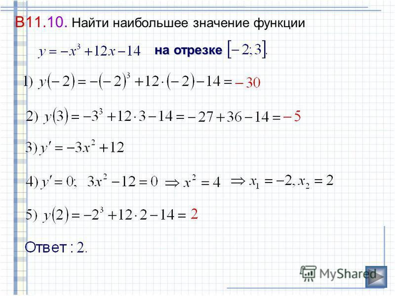 Вывод: Функция, непрерывная на отрезке, принимает наибольшее(наименьшее)значениев критических точках, являющихся наибольшее (наименьшее) значение в критических точках, являющихся внутренними точками отрезка, илина концах этого отрезка внутренними точ
