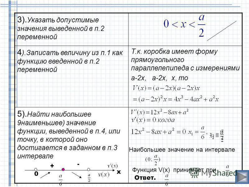 Из квадратного листа картона со стороной а нужно сделать открытую сверху коробку прямоугольной формы, вырезав по краям квадраты и загнув образовавшиеся края Какой должна быть высота коробки, чтобы ее объем был наибольшим? а х Алгоритм решения приклад