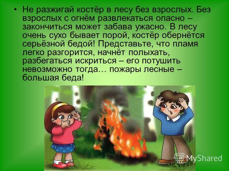 Не разжигай костёр в лесу без взрослых. Без взрослых с огнём развлекаться опасно – закончиться может забава ужасно. В лесу очень сухо бывает порой, костёр обернётся серьёзной бедой! Представьте, что пламя легко разгорится, начнёт полыхать, разбегатьс
