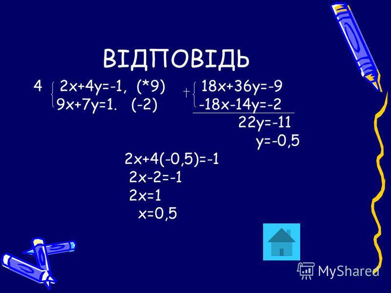 ВІДПОВІДЬ 42х+4у=-1, (*9) 18х+36у=-9 9х+7у=1. (-2) -18х-14у=-2 22у=-11 у=-0,5 2х+4(-0,5)=-1 2х-2=-1 2х=1 х=0,5