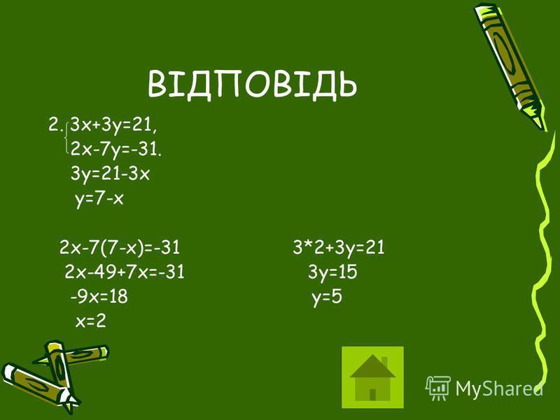 ВІДПОВІДЬ 2. 3х+3у=21, 2х-7у=-31. 3у=21-3х у=7-х 2х-7(7-х)=-31 3*2+3у=21 2х-49+7х=-31 3у=15 -9х=18 у=5 х=2
