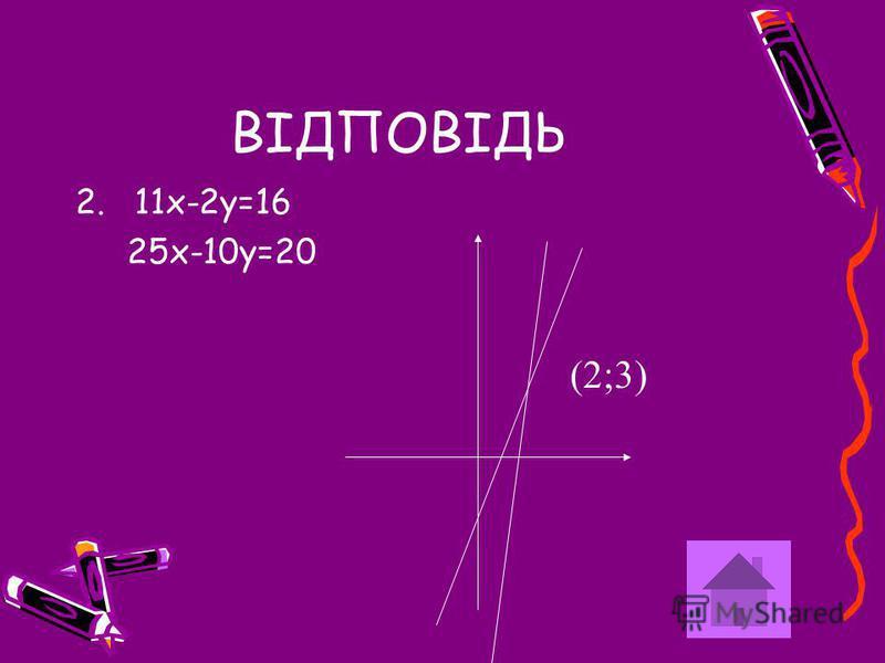 ВІДПОВІДЬ 2.11х-2у=16 25х-10у=20 (2;3)