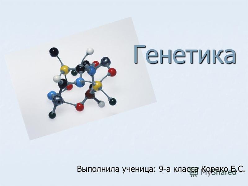 Генетика Выполнила ученица: 9-а класса Кореко Е.С.
