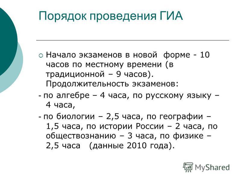 Порядок проведения ГИА Начало экзаменов в новой форме - 10 часов по местному времени (в традиционной – 9 часов). Продолжительность экзаменов: - по алгебре – 4 часа, по русскому языку – 4 часа, - по биологии – 2,5 часа, по географии – 1,5 часа, по ист