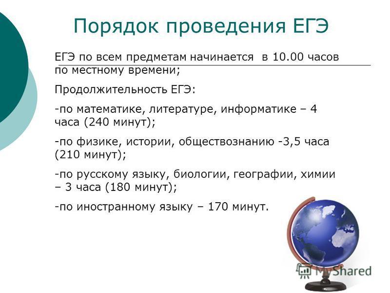 Порядок проведения ЕГЭ ЕГЭ по всем предметам начинается в 10.00 часов по местному времени; Продолжительность ЕГЭ: -по математике, литературе, информатике – 4 часа (240 минут); -по физике, истории, обществознанию -3,5 часа (210 минут); -по русскому яз