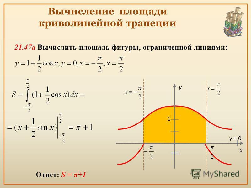 Вычисление площади криволинейной трапеции Ответ: S = π+1 21.47 а Вычислить площадь фигуры, ограниченной линиями: x y = 0 y 1