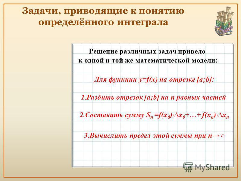 Задачи, приводящие к понятию определённого интеграла Решение различных задач привело к одной и той же математической модели: Для функции y=f(x) на отрезке [a;b]: 1. Разбить отрезок [a;b] на n равных частей 2. Составить сумму S n =f(x 0 )·x 0 +…+ f(x