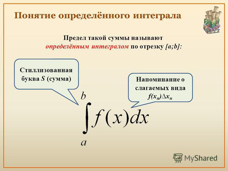 Понятие определённого интеграла Предел такой суммы называют определённым интегралом по отрезку [a;b]: Напоминание о слагаемых вида f(x n )x n Стиллизованная буква S (сумма)