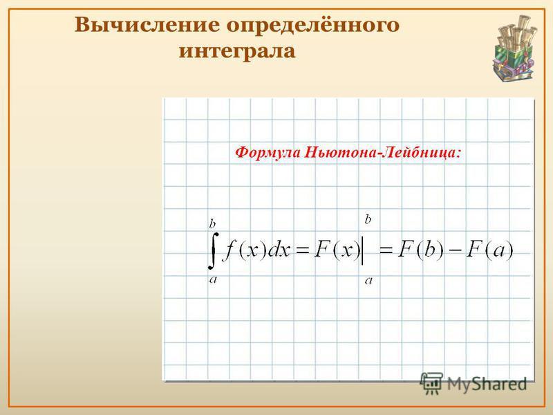 Вычислить интеграл: Вычисление определённого интеграла Интеграл от суммы функций равен сумме интегралов Постоянный множитель можно вынести за знак интеграла Формула Ньютона-Лейбница: