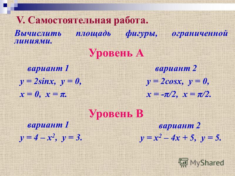 V. Самостоятельная работа. Вычислить площадь фигуры, ограниченной линиями. вариант 1 Уровень А y = 2sinx, y = 0, x = 0, x = π. вариант 2 y = 2cosx, y = 0, x = -π/2, x = π/2. Уровень B вариант 1 вариант 2 y = 4 – x 2, y = 3. y = x 2 – 4x + 5, y = 5.