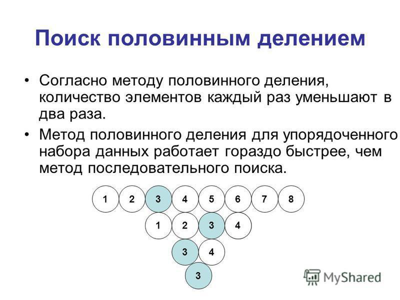 Поиск половинным делением Согласно методу половинного деления, количество элементов каждый раз уменьшают в два раза. Метод половинного деления для упорядоченного набора данных работает гораздо быстрее, чем метод последовательного поиска. 12345678 123