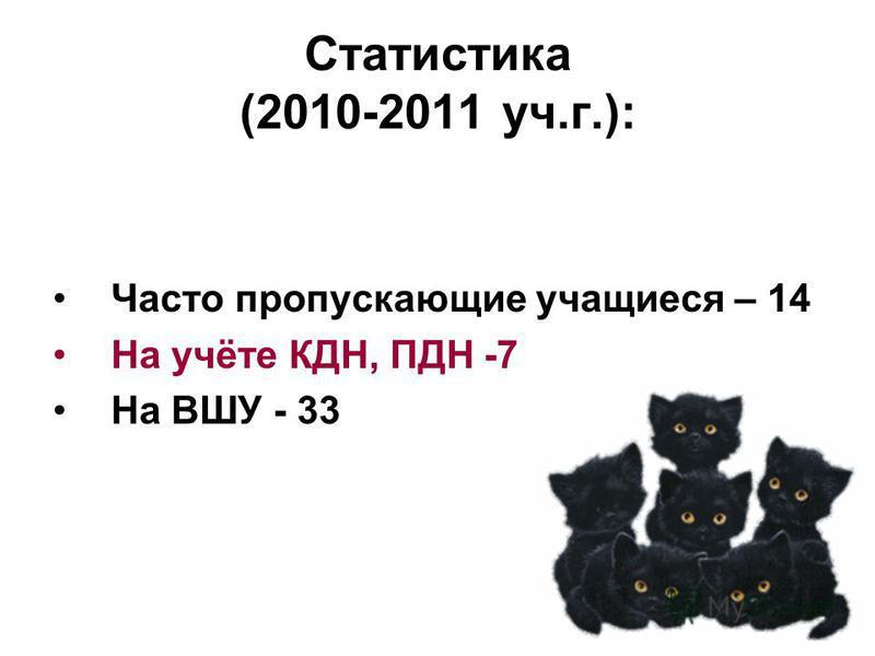 Статистика (2010-2011 уч.г.): Часто пропускающие учащиеся – 14 На учёте КДН, ПДН -7 На ВШУ - 33