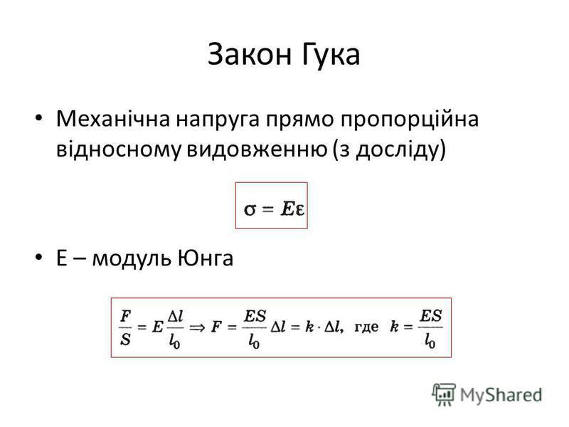 Закон Гука Механічна напруга прямо пропорційна відносному видовженню (з досліду) Е – модуль Юнга