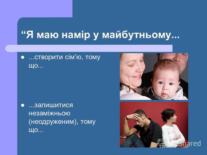 Я маю намір у майбутньому......створити сімю, тому що......залишитися незаміжньою (неодруженим), тому що...
