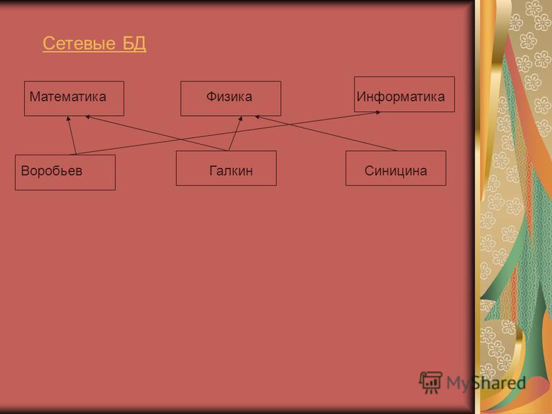 Сетевые БД Математика Физика Информатика Воробьев Галкин Синицина