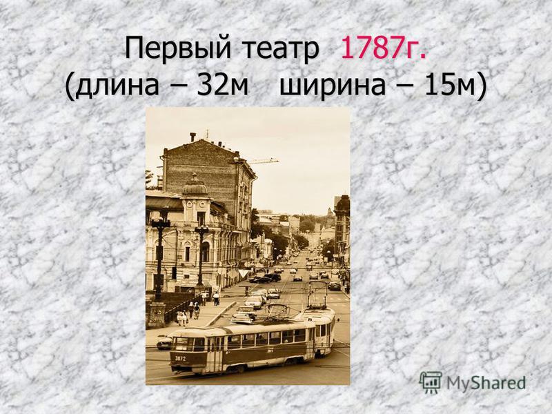 Первый театр 1787 г. (длина – 32 м ширина – 15 м)