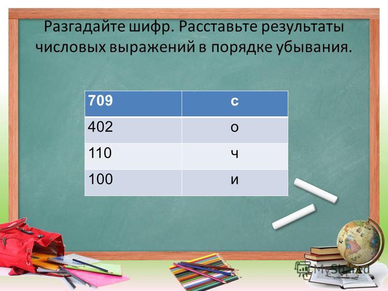 Разгадайте шифр. Расставьте результаты числовых выражений в порядке убывания. 201+201 о 609+100 с 210-110 и 440-330 ч