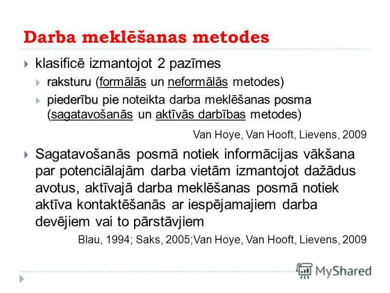 Darba meklēšanas metodes klasificē izmantojot 2 pazīmes raksturu raksturu (formālās un neformālās metodes) piederībupieposma piederību pie noteikta darba meklēšanas posma (sagatavošanās un aktīvās darbības metodes) Van Hoye, Van Hooft, Lievens, 2009
