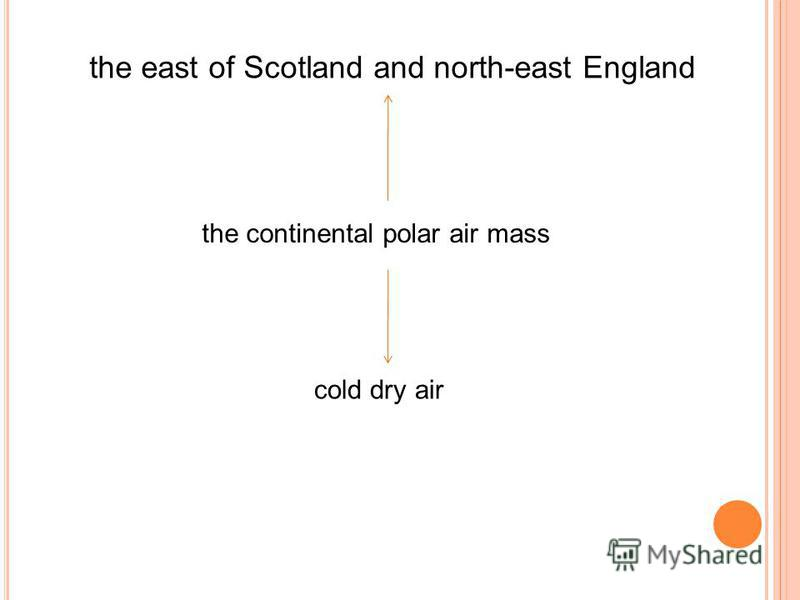 the east of Scotland and north-east England the continental polar air mass cold dry air