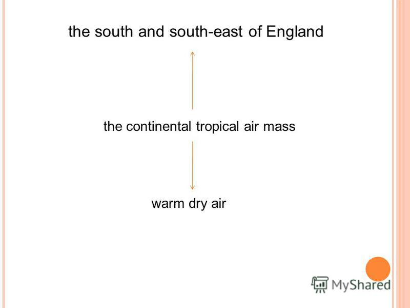 the south and south-east of England the continental tropical air mass warm dry air
