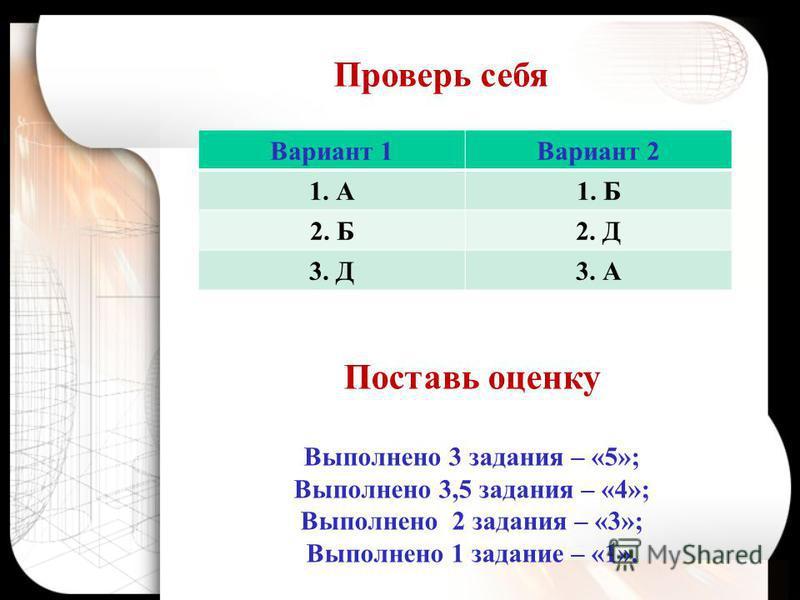 Вариант 1Вариант 2 1. А1. Б 2. Б2. Д 3. Д3. А Проверь себя Поставь оценку Выполнено 3 задания – «5»; Выполнено 3,5 задания – «4»; Выполнено 2 задания – «3»; Выполнено 1 задание – «1».