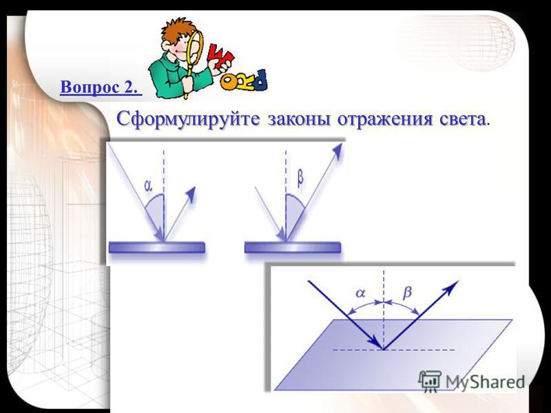 Вопрос 2. Сформулируйте законы отражения света Сформулируйте законы отражения света.