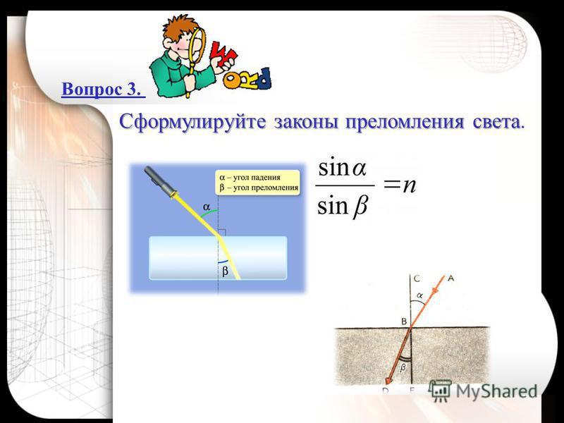 Вопрос 3. Сформулируйте законы преломления света Сформулируйте законы преломления света.