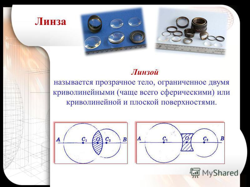 Линзой называется прозрачное тело, ограниченное двумя криволинейными (чаще всего сферическими) или криволинейной и плоской поверхностями. Линза