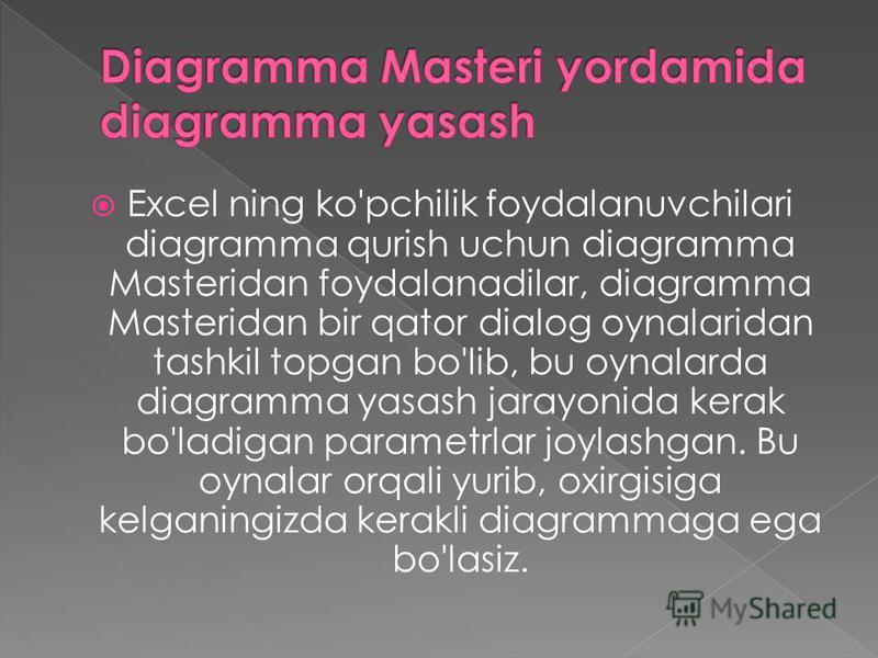 Excel ning ko'pchilik foydalanuvchilari diagramma qurish uchun diagramma Masteridan foydalanadilar, diagramma Masteridan bir qator dialog oynalaridan tashkil topgan bo'lib, bu oynalarda diagramma yasash jarayonida kerak bo'ladigan parametrlar joylash