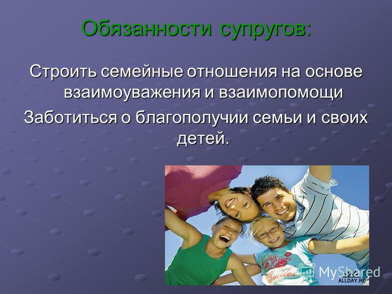 Обязанности супругов: Строить семейные отношения на основе взаимоуважения и взаимопомощи Заботиться о благополучии семьи и своих детей.