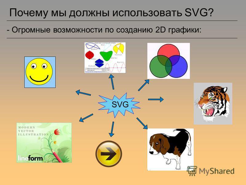 Почему мы должны использовать SVG? - Огромные возможности по созданию 2D графики: SVG