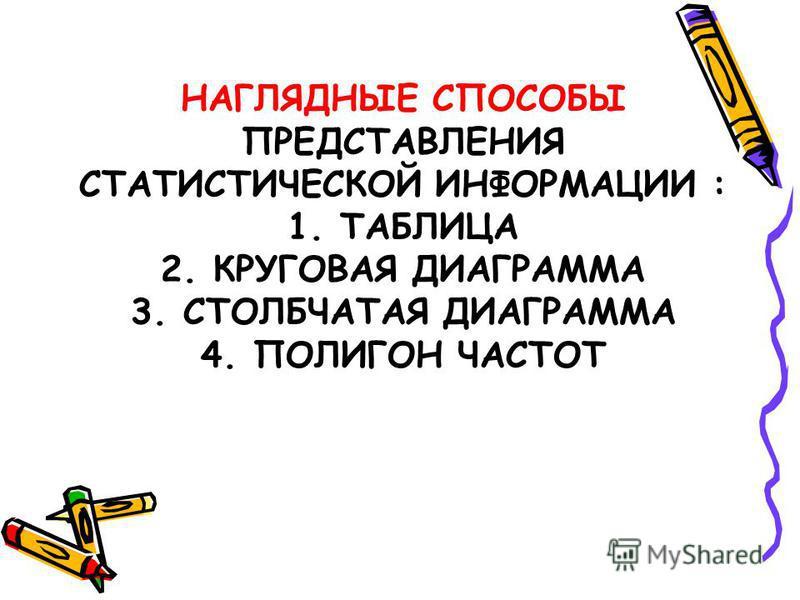 НАГЛЯДНЫЕ СПОСОБЫ ПРЕДСТАВЛЕНИЯ СТАТИСТИЧЕСКОЙ ИНФОРМАЦИИ : 1. ТАБЛИЦА 2. КРУГОВАЯ ДИАГРАММА 3. СТОЛБЧАТАЯ ДИАГРАММА 4. ПОЛИГОН ЧАСТОТ
