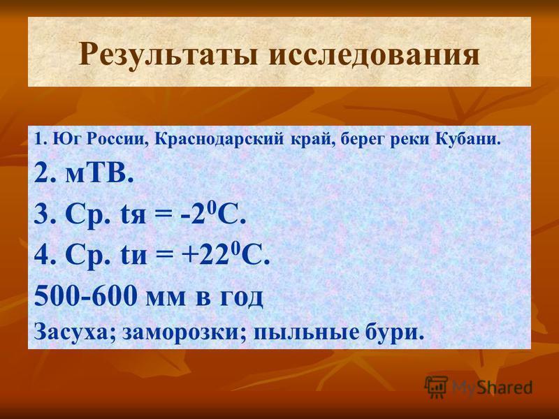 Результаты исследования 1. Юг России, Краснодарский край, берег реки Кубани. 2. мТВ. 3. Ср. tя = -2 0 С. 4. Ср. to = +22 0 С. 500-600 мм в год Засуха; заморозки; пыльные бури.