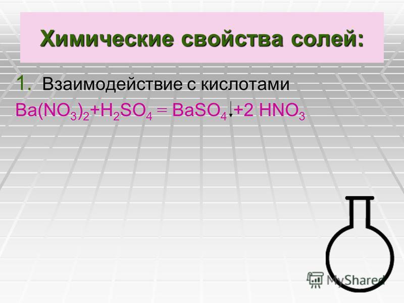 Химические свойства солей: 1. Взаимодействие с кислотами Ва(NО 3 ) 2 +Н 2 SO 4 = ВаSO 4 +2 НNО 3