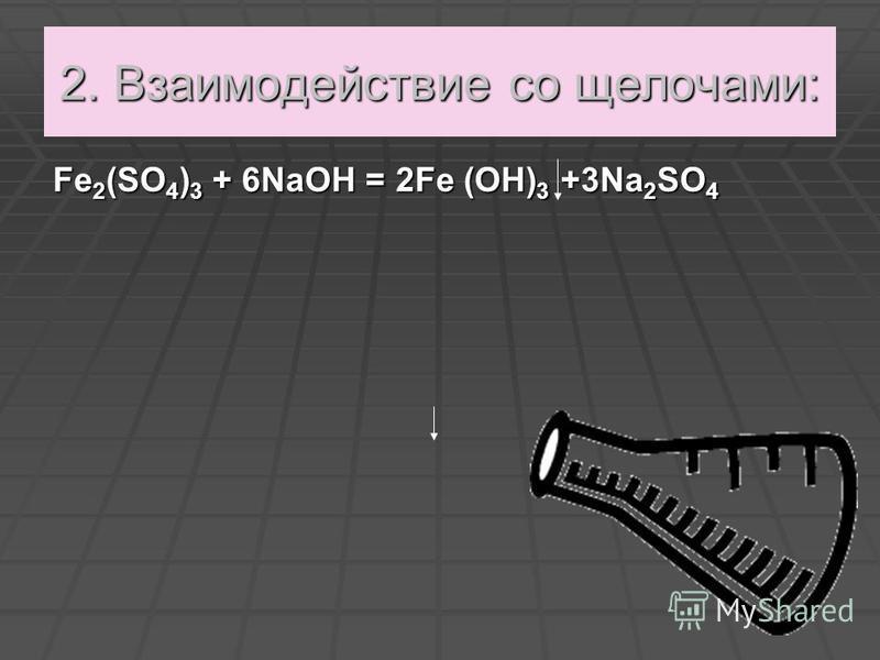 2. Взаимодействие со щелочами: Fе 2 (SО 4 ) 3 + 6NаОН = 2Fе (ОН) 3 +3Nа 2 SО 4