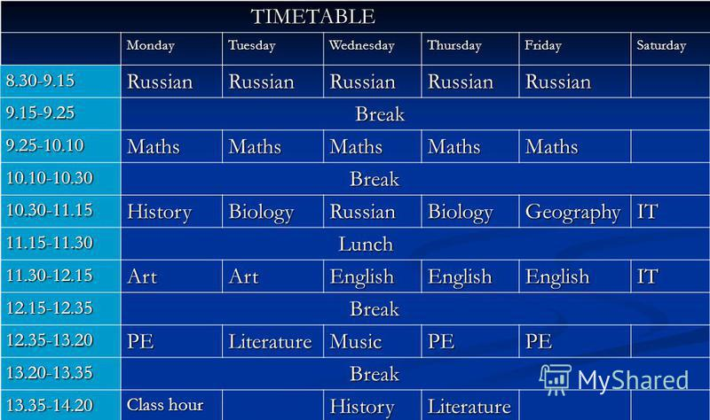 TIMETABLE TIMETABLE MondayTuesdayWednesdayThursdayFridaySaturday 8.30-9.15RussianRussianRussianRussianRussian 9.15-9.25 Break Break 9.25-10.10MathsMathsMathsMathsMaths 10.10-10.30 10.30-11.15HistoryBiologyRussianBiologyGeographyIT 11.15-11.30 Lunch L